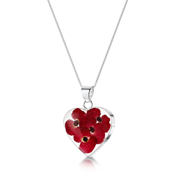 Sterling Silver medium heart poppy pendant