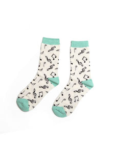 Music Notes Socks White
