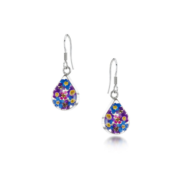 Sterling Silver Purple Haze flowers teardrop Earrings
