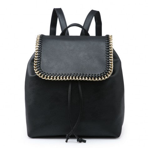 Black curb chain detail backpack