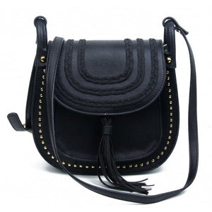 Black plait, stud & tassle saddle bag