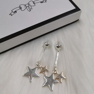 Silver & rose gold bar and star polished drop earrings
