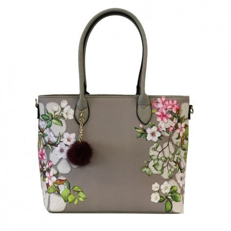 Grey large bag with painted flower & cherry blossom detail