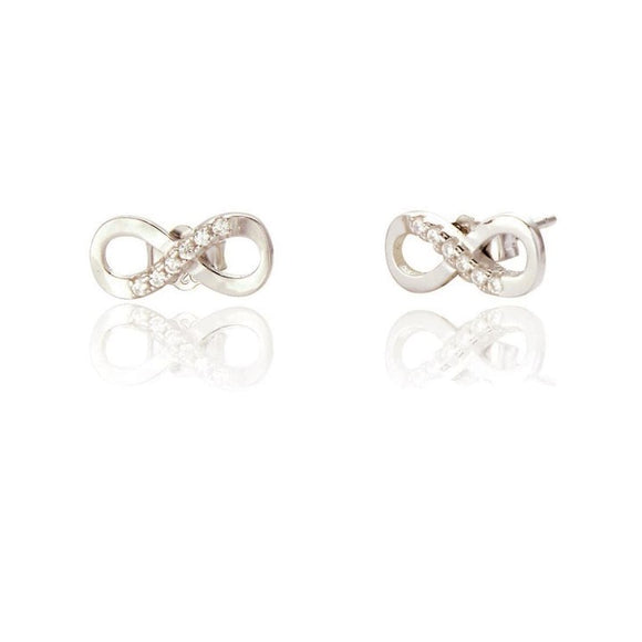Sterling Silver Serene Infinity Stud Earrings