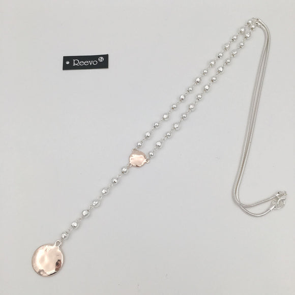 Silver & rose gold bead and disc necklace