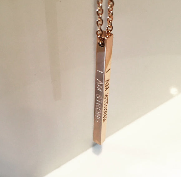 'I AM STRONG' Bar Pendant Affirmation Necklace - Rose Gold