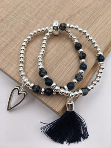 Silver beaded bracelet duo with blue stones, blue tassle & heart charm
