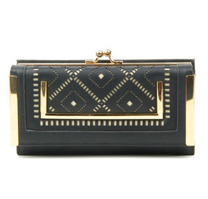 Black and gold geometric purse