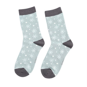 Snowflakes Socks Duck Egg