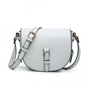 White leather effect D shoulder bag