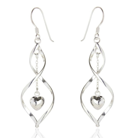 Sterling Silver Samantha Heart Drop Earrings