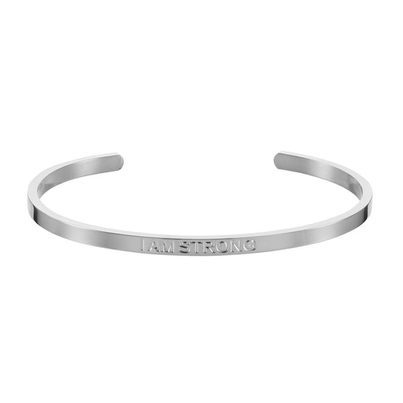 'I AM STRONG' Affirmation Bangle - Silver