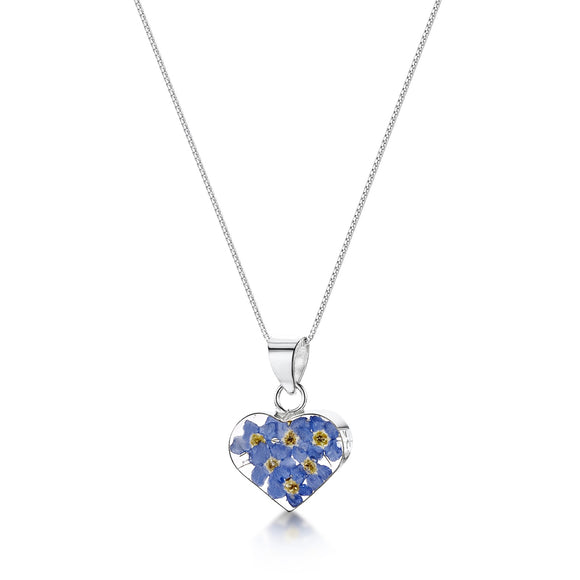 Sterling Silver Forget me not Heart Pendant