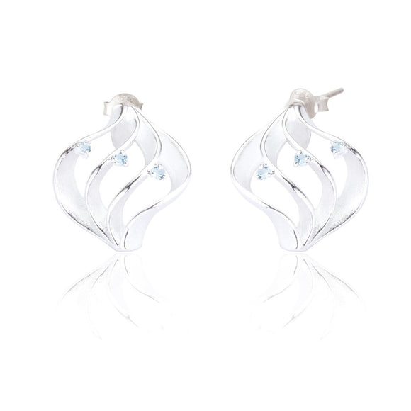 Sterling Silver Milana Stud Earrings - Blue Topaz