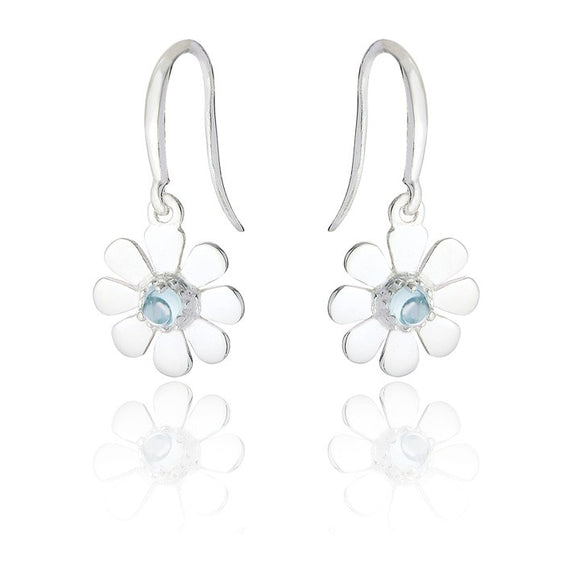 Sterling Silver Daisy Drop Earrings - Blue Topaz