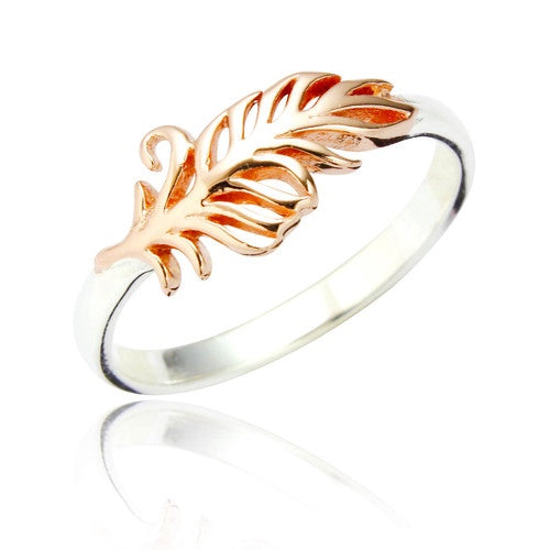 Sterling Silver Rina Feather Ring - Rose Gold Plated