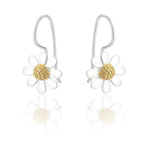 Sterling Silver Daisy Drop Earrings - Gold Plated