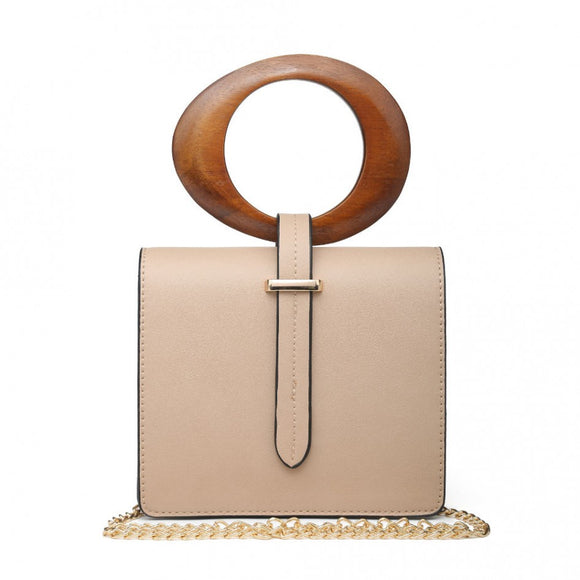 Nude wooden bangle clutch bag