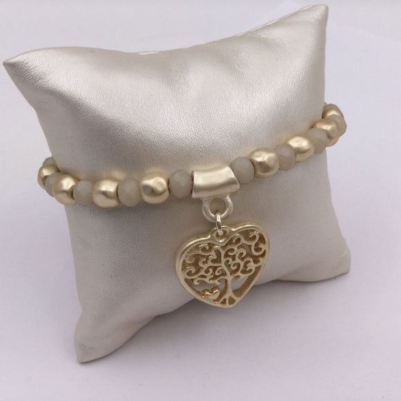 Gold Beaded Bracelet with Heart Tree of Life Charm