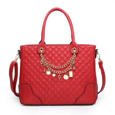Red quilted gold charm bag