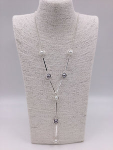 Silver necklace with bars, white & grey pearls