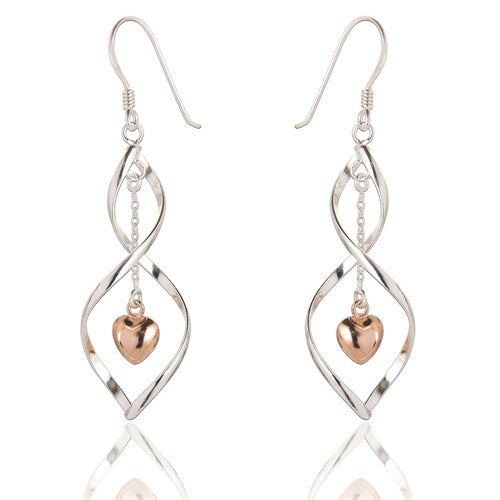 Sterling Silver Samantha Heart Drop Earrings - Rose Gold Plated