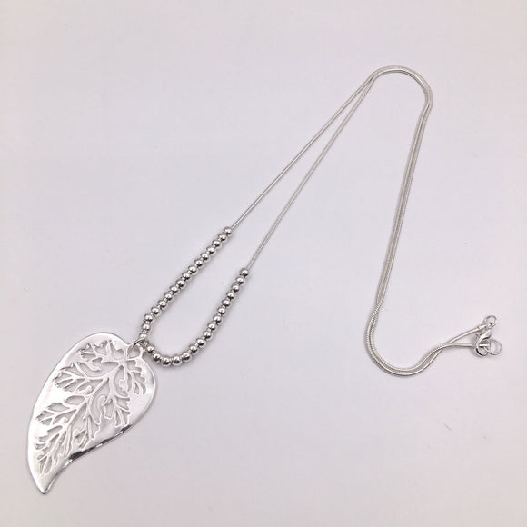 Silver bead and leaf necklace