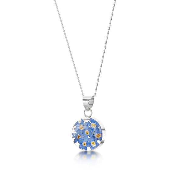 Sterling Silver Round Forget me not Pendant