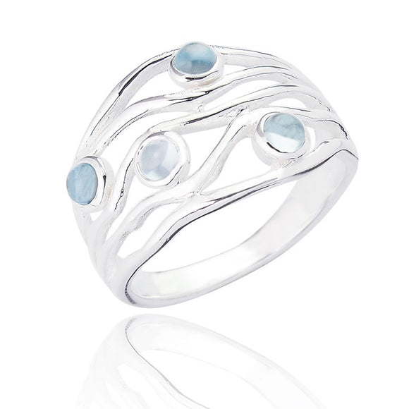 Sterling Silver Edwina Statement Ring - Blue Topaz