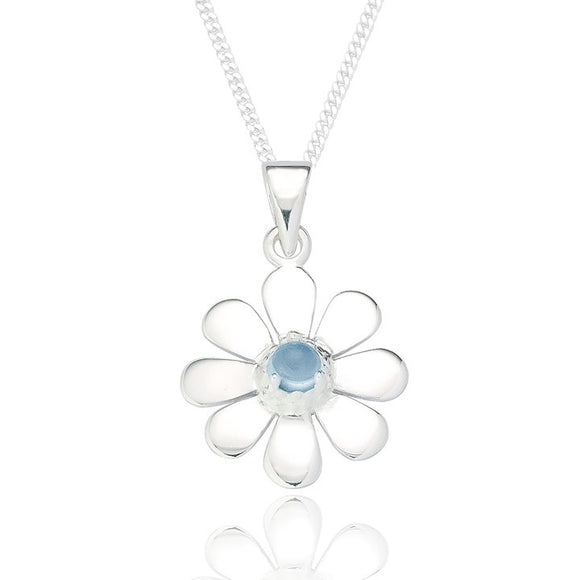 Sterling Silver Daisy Pendant & Chain - Blue Topaz