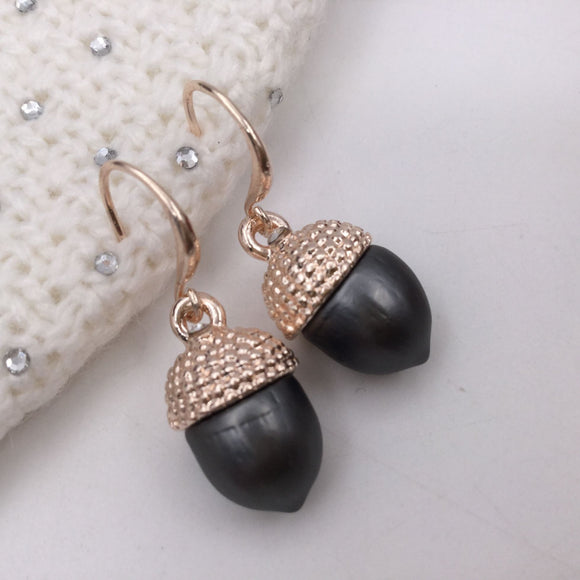Rose Gold and grey acorn drop earrings