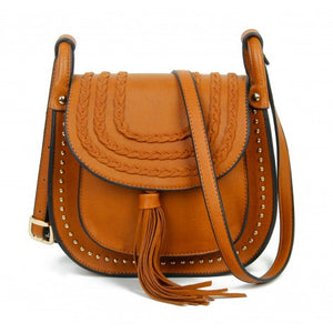 Brown plait, stud & tassle saddle bag