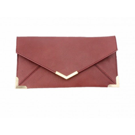 Burgundy envelope style clutch bag