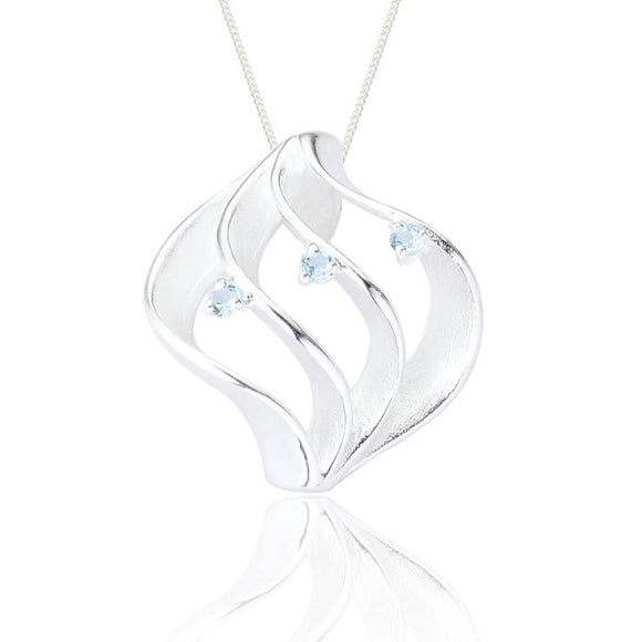Sterling Silver Milana Pendant & Chain - Blue Topaz