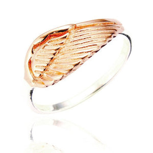 Sterling Silver Ariel Angel Ring - Rose Gold plated