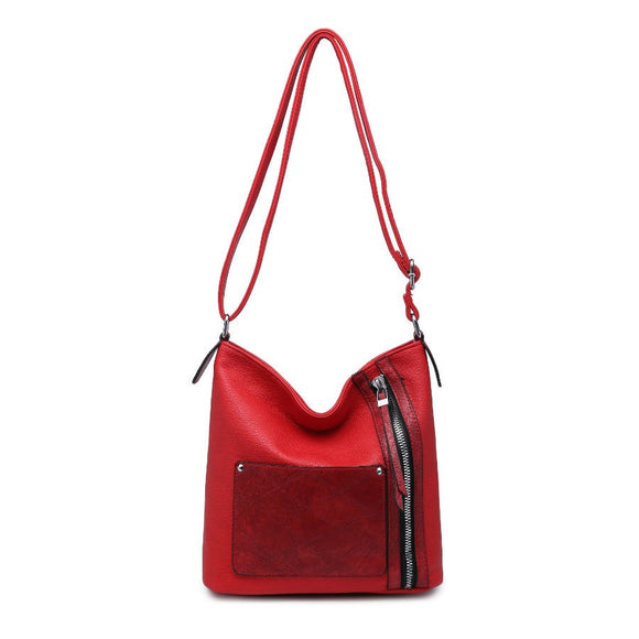Red zip front shoulder bag