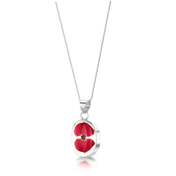 Sterling Silver oval poppy pendant