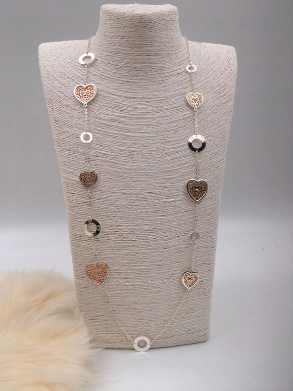 Silver & rose gold necklace with filigree hearts and hoops