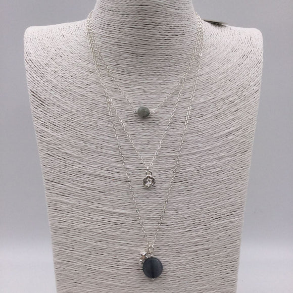 Silver 3 layer necklace with grey beads and star charms
