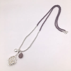 Silver lilac beaded necklace with filigree pendant