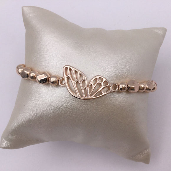 Rose gold butterfly beaded bracelet