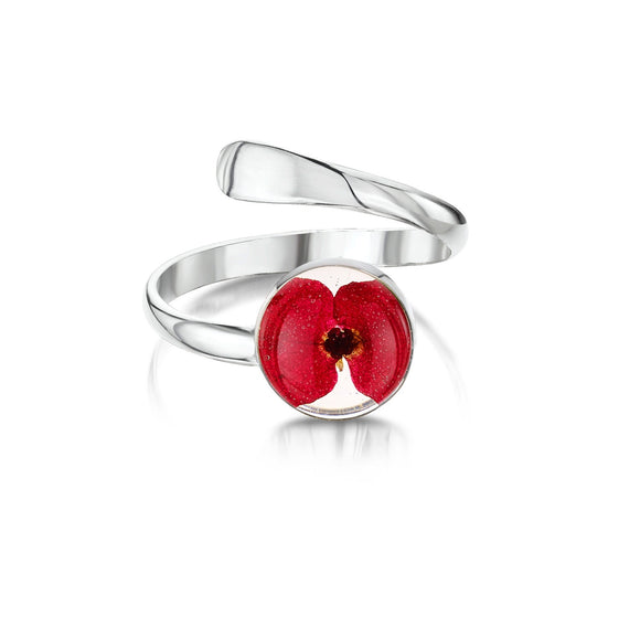 Adjustable Sterling Silver poppy ring