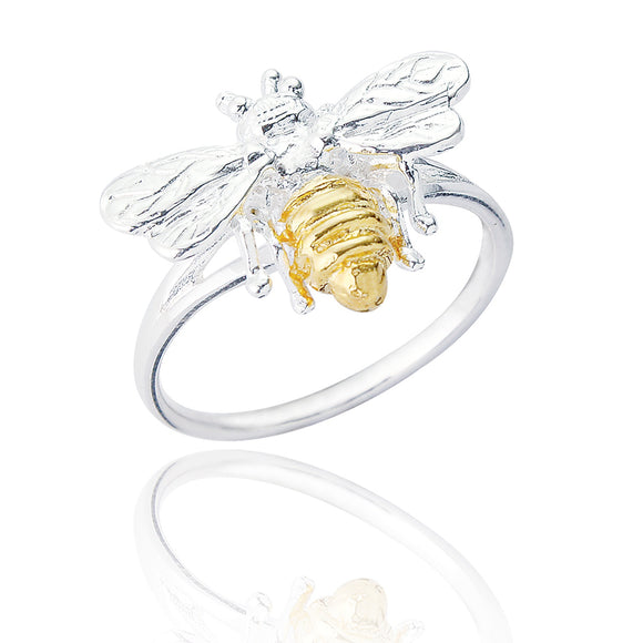 Sterling Silver Hermione Bee Ring - Gold Plated