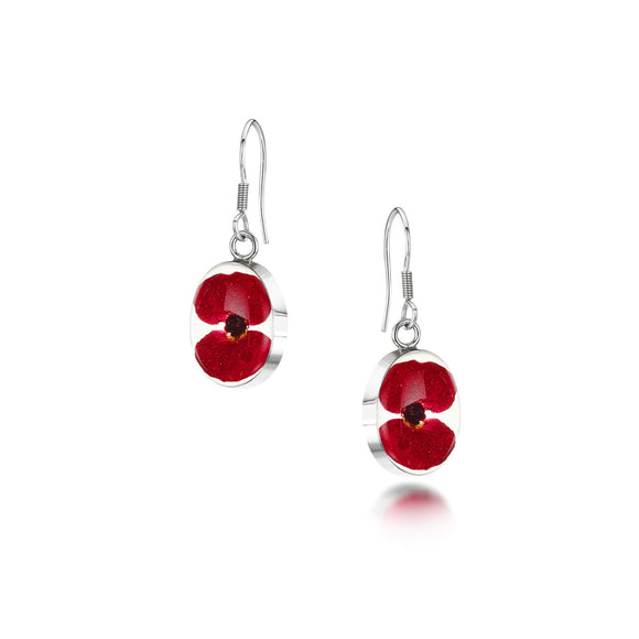 Sterling Silver oval poppy drop Earrings
