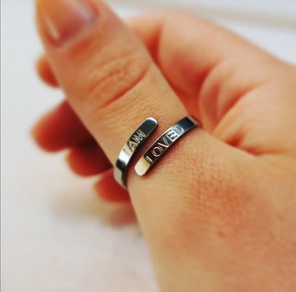 'I AM LOVED' Affirmation Ring - Silver
