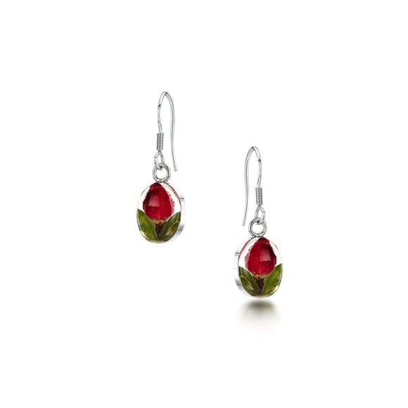 Sterling Silver oval rose bud drop Earrings