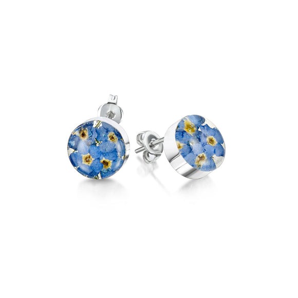 Sterling Silver round Forget me not stud earrings