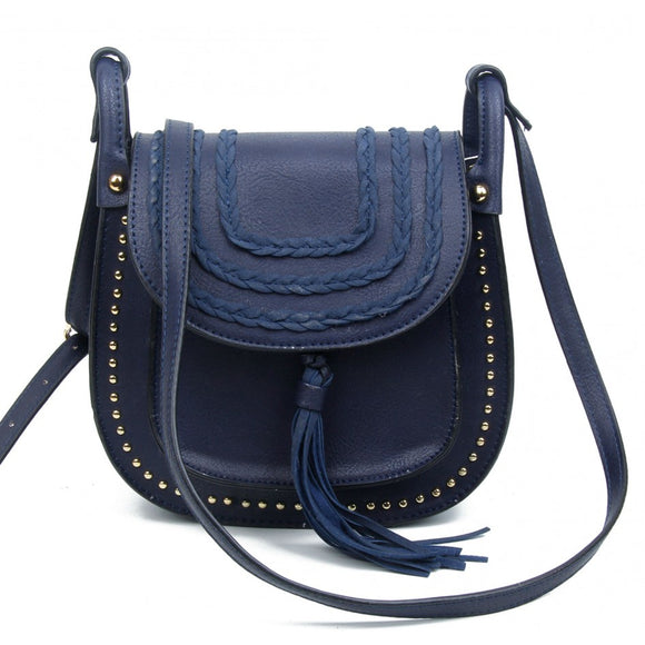 Navy blue plait, stud & tassle saddle bag