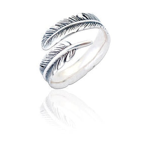 Sterling Silver Melissa Feather Ring - Oxidised