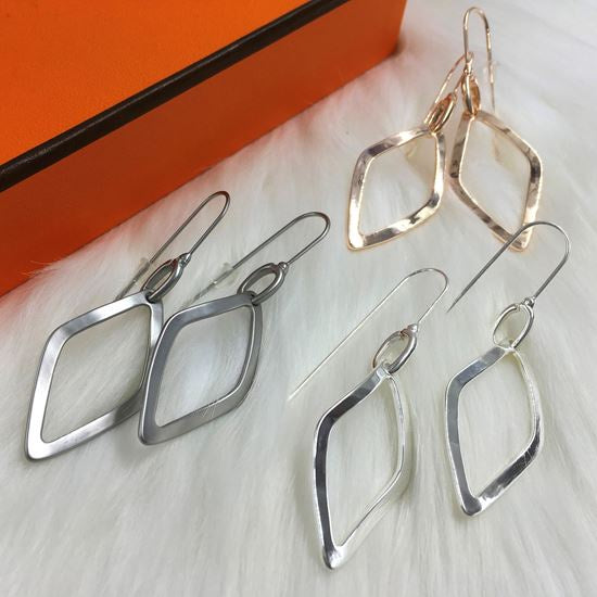 Silver brushed abstract diamond shape earrings